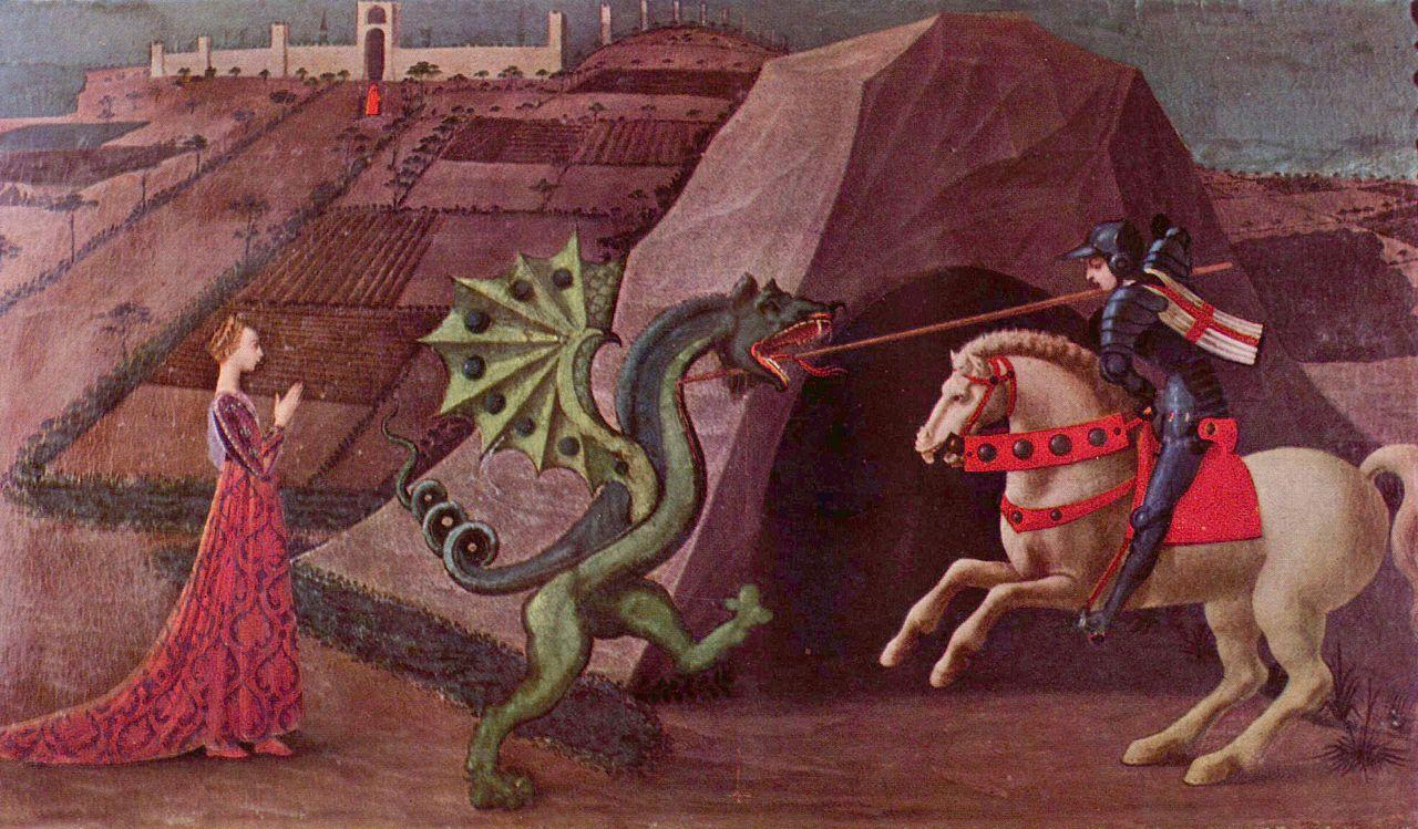 Paolo Uccello (Firenze, 1397 – 1475) San Giorgio mentre uccide il drago 1430-1435, olio su tavola. Paris, Musée Jacquemart-André – Institut de France © Culturespaces - Musée Jacquemart-André, già collezione Stefano Bardini (citazione obbligatoria).